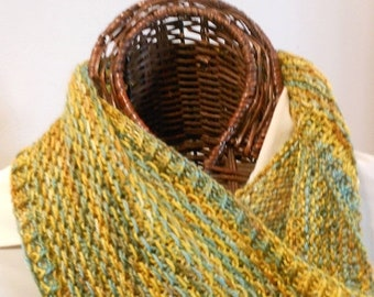 MOTHERSDAY GOLDS and AQUAS Silk/Wool Cowl