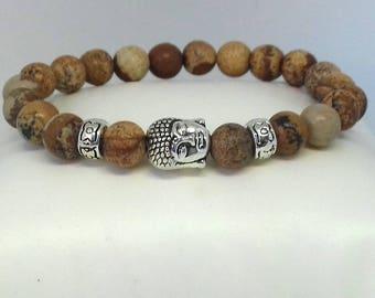 Brown Jasper mala bracelet - yoga bracelet - gemstone bracelet - healing bracelet - meditation bracelet - beaded bracelet - buddha bracelet