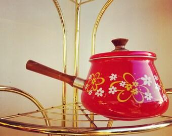 Red Flower Power Fondue Pot