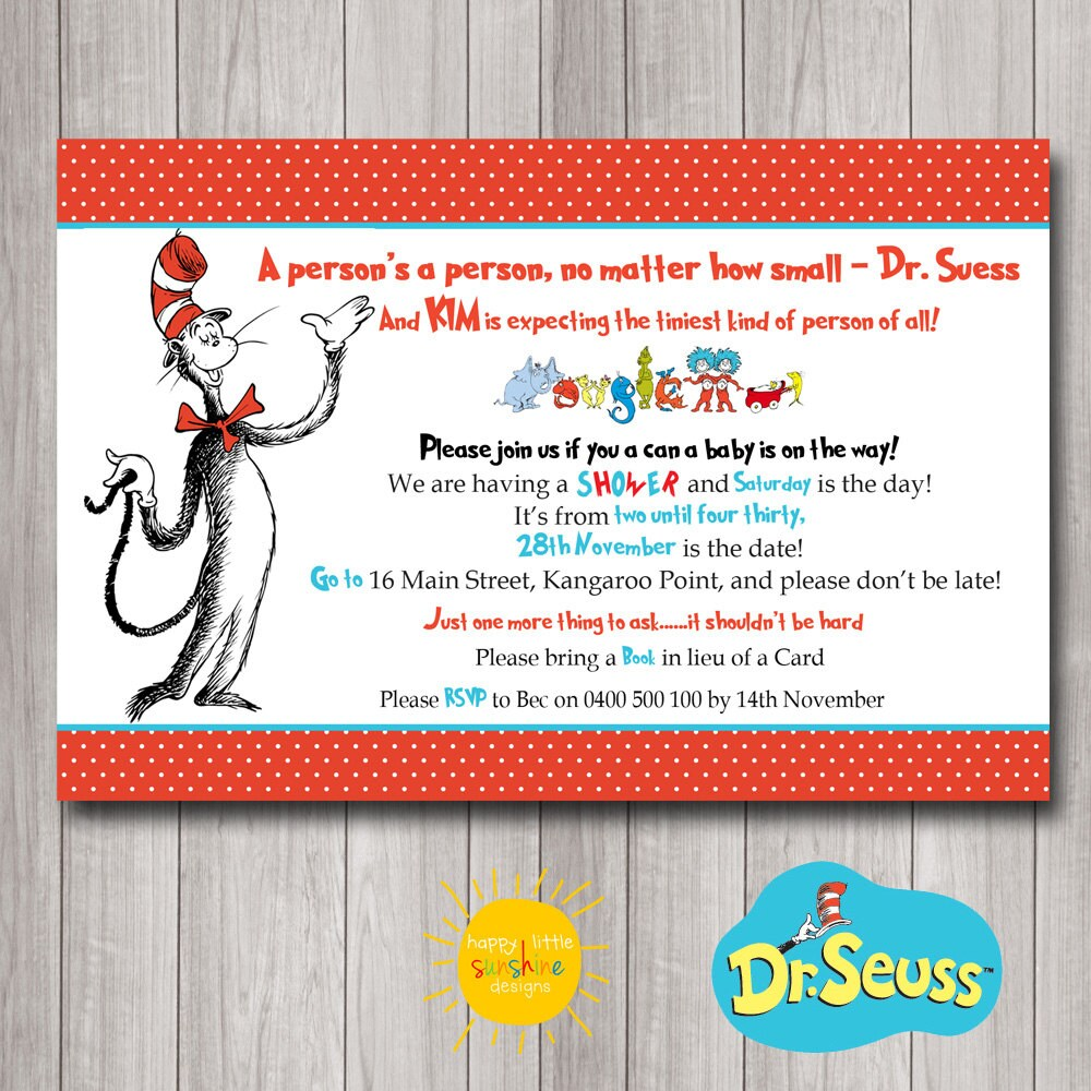 Printable Custom Baby Shower Invitation Dr Seuss A