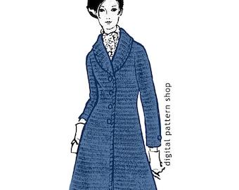 Crochet Jacket Pattern 1970s Vintage Jacket or Sweater Coat Crochet Pattern Shawl Collar PDF Womens Size 10 to 16- C14