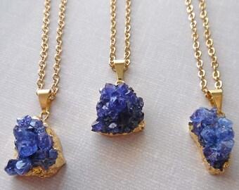 Chunky Purple Gold Druzy Necklace / Dark Purple Druzy / Natural Chunky Freeform Druzy Necklace / Purple Stone Amethyst Crystal Necklace /GD6