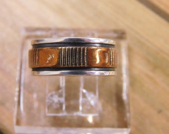 Sterling Silver and Copper Band Size 8.5