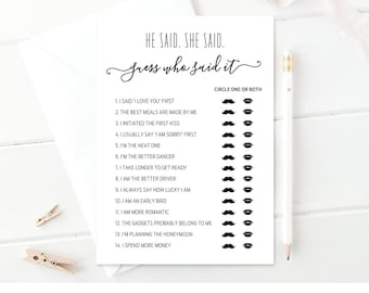 He Said She Said Game | Printable Bridal Shower Game | Guess Who Said It Game | 100% Editable Template | Instant Download | DIY #030-103BG