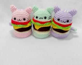 Pastel Kitty Amigurumi Burger Plushies