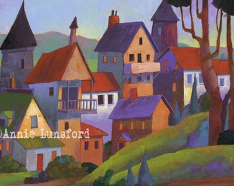 "Village Scene - Fits in a 20"" X 16"" Mat Limited Edition Giclee Print of a Painting by Annie Lunsford ""The Village That Time Forgot"" Fantasy"