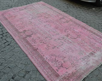 PINK Oushak Rug, Vintage SOFT PINK Overdyed Rug, Handmade Area Rug, Anatolian Pink Rug   (290 cm x 166 cm)  9,5 feet x 5,4 feet model:724