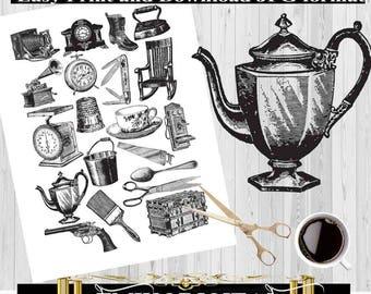 The Antique Digital collage sheet,Vintage Objects,Vintage illustration designs,image transfer,scrapbook collage digital download