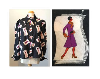 Vintage 70s Novelty Print Soul Train Blouse M Teens 20s Revival