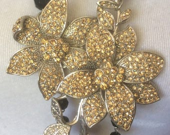 STATEMENT NECKLACE Rhinestone heavy large flower necklace with matching bracel