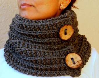 Clothing Gift. Cowl Slate Grey Infinity Scarf / Gray / Hand Knitted Women / Winter Accessories
