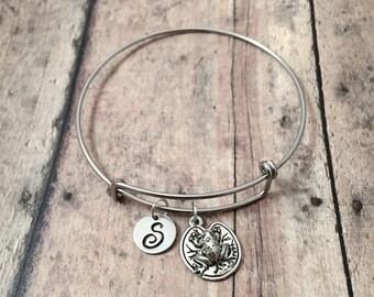 Frog initial bangle - frog jewelry, lily pad jewelry, frog bangle, silver frog pendant, lily pad pendant, amphibian bangle, pond jewelry