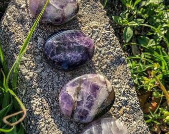 Amethyst palm stone, palm stone, amethyst