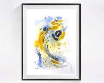 Fine Art Print, Archival print, modern Watercolor, Contemporary, abstract artwork, Colorful wall decor, Grey painting, blue painting, yellow