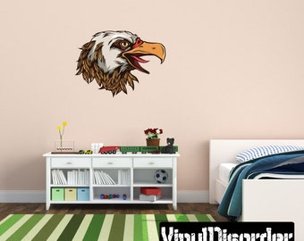 Eagle Wall Decal - Wall Fabric - Vinyl Decal - Removable and Reusable - EagleUScolor003ET