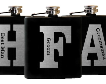 2 Flasks, Personalized Groomsmen Gifts, Stainless Flask, Wedding Gift Men, Groomsmen Flasks, Custom Flask, Groomsman Gift, Set of 2 Flasks