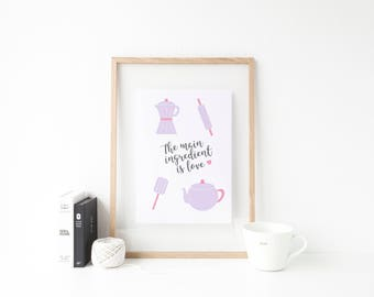 Kitchen Print. Kitchen Poster. Love Print. Purple Kitchen Print. Coffee Print. Tea Print. Kitchen Illustrations. Kitchen Utensils Print