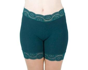 Green Biker Shorts Dark Underwear Lace Trim Tap Pants Under Skirt Shorties