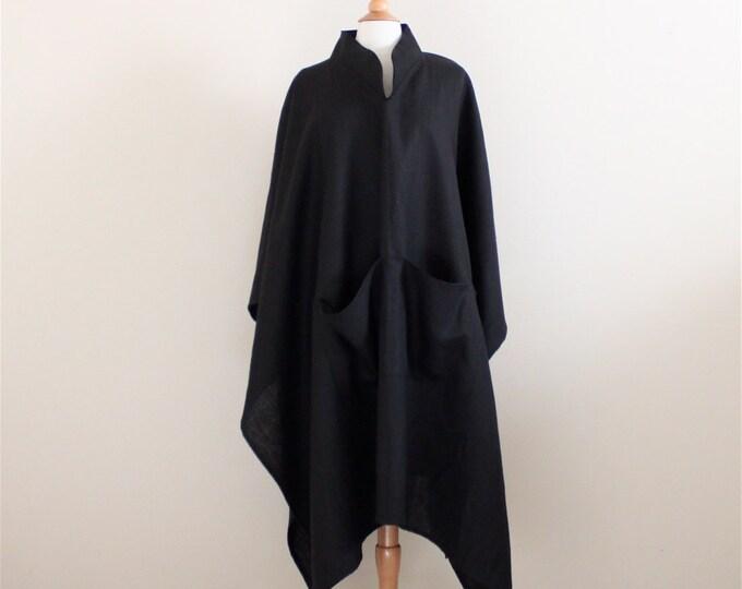 custom heavy linen swallow long length poncho with big pockets / casual winter poncho coat / Brooklyn fashion / plus size fit poncho / USA