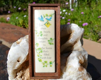 """Vintage """"How often hearts and thoughts return to the home that's filled with love"""" Small Wood Plaque."""