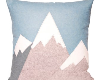 """21"""" Ski Mountains Large Decorative Wool Throw Pillow, Winter Home Decor, Cabin, Winter, ski lodge, snow capped mountain, The Salty Cottage"""