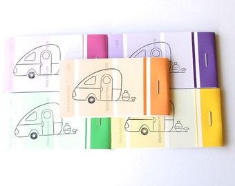 PAINT CHIP MATCHBOOK notepads Set of 5- Vintage Teardrop Camper in brights