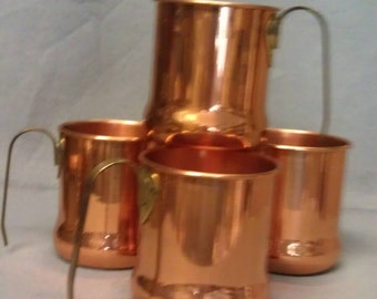 C G Copper Mugs with Open Brass Handles