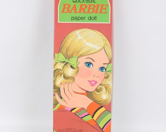 """1975 Barbie Paper Doll In Box w Plastic Stand, Some Cut, Most Uncut, Excellent VTG Cond., 14-3/4"""" X 5"""" X 1-1/4"""""""