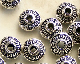 Antique Silver Spacer Beads 6.5x4mm  (25 pcs) MW-P5914