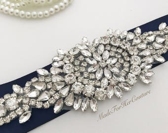 Sale Crystal Wedding sash-navy Blue wedding sash-wedding Sash Belt, Crystal Sash-Rhinestone belt sash-Navy Bridal Belt-Bridal Sash