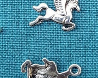 Set of 2 Tibetan silver winged horse Pegasus charms
