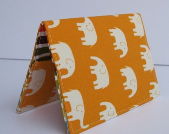 Passport Case Holder Cover - Cream Elephants on Tangerine Orange