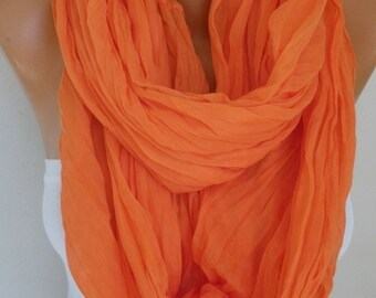 Orange Cotton Infinity Scarf, Pumpkin,Halloween,Spring Fashion Scarf Cowl Circle Loop Oversized Gift Ideas For Her Women Fashion Accessories