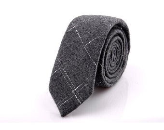 Charcoal Ties.Mens Wool Tie With White Stripes.Business Gift.Fathers Gift