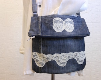 Recycled jeans, crossbody bag, upcycled denim bag, upcycled shoulder bag, Mothers Day gift