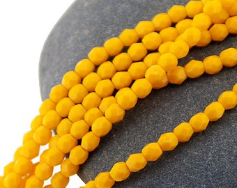 Sunflower Deep Yellow 4mm FirePolish, Faceted Czech Glass Opaque Fire polished Beads x 50