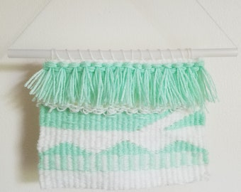 Mint Green and White Woven Wall Hanging