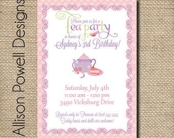 Tea Party Invitation - Afternoon Tea - Cup of Tea - Custom Printable Birthday Invitation