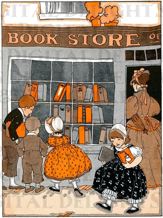 Wonderful Bookstore Vintage Books Illustration Reading