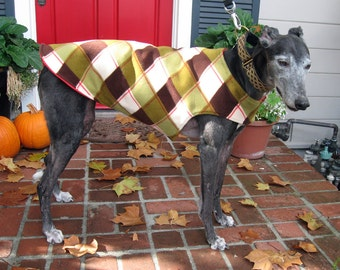 Greyhound Dog Coat, XL Dog Jacket, Red, Green, Olive, Brown, and Ivory Plaid Fleece with Red Fleece Lining