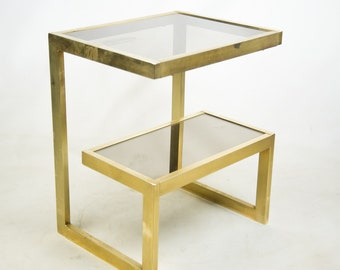 Mid-Century Modern Cantilevered Gold and Smokey Glass Side Table
