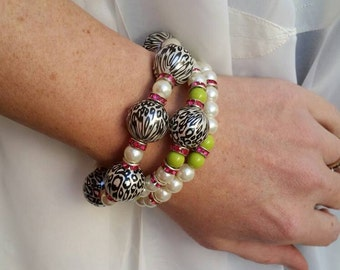 Green and Pink Cheetah Bracelet Set - Beaded Stretch Bracelet trio - mix and match stacking bracelets for layering