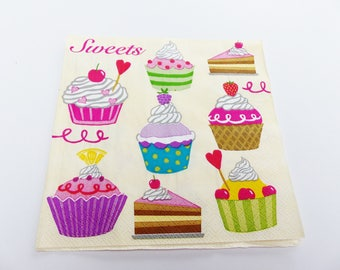 5 cake cup cake sweets 33 X 33 cm lunch napkin