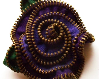 Dark Light Purple  Swirled Floral Brooch / Zipper Pin by ZipPinning 3126