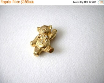 ON SALE Vintage AVON Thick Gold Tone Clear Rhinestones Brushed Metal Teddy Pin Pendant 82116