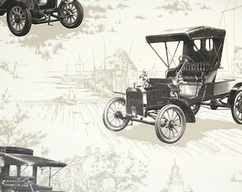 Retro Wallpaper by the Yard 70s Vintage Wallpaper - 1970s Model T Ford Antique Car Noveltly Wallpaper
