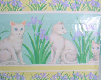 1 Sheet of Vintage Cat and Floral Wrapping Paper, White Cat and Iris  Gift Wrap, All Occasion Wrapping Paper
