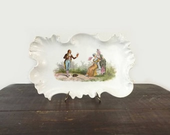 Victoria Carlsbad Austria Dresser Tray, Shabby Romantic Porcelain Vanity Tray, Cottage Chic Boudoir Decor, Gift for Her