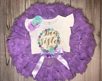 Big Sister Little Sister Outfit in Lavender, Aqua and Gold - Matching Sister Outfits with Chunky Necklace - Big Sis Little Sis Outfits
