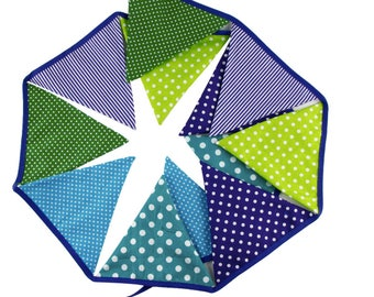 Spots/ Stripes cotton bunting green/blue colourway